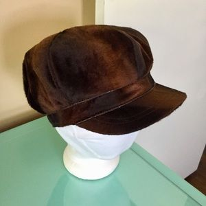 Nine West Brown Faux Fur and Leather Newsboy Cap